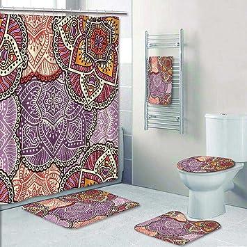 5 tlg. Badezimmer Set-Nahtlose Muster Vintage Deko Elements Ziehen ...