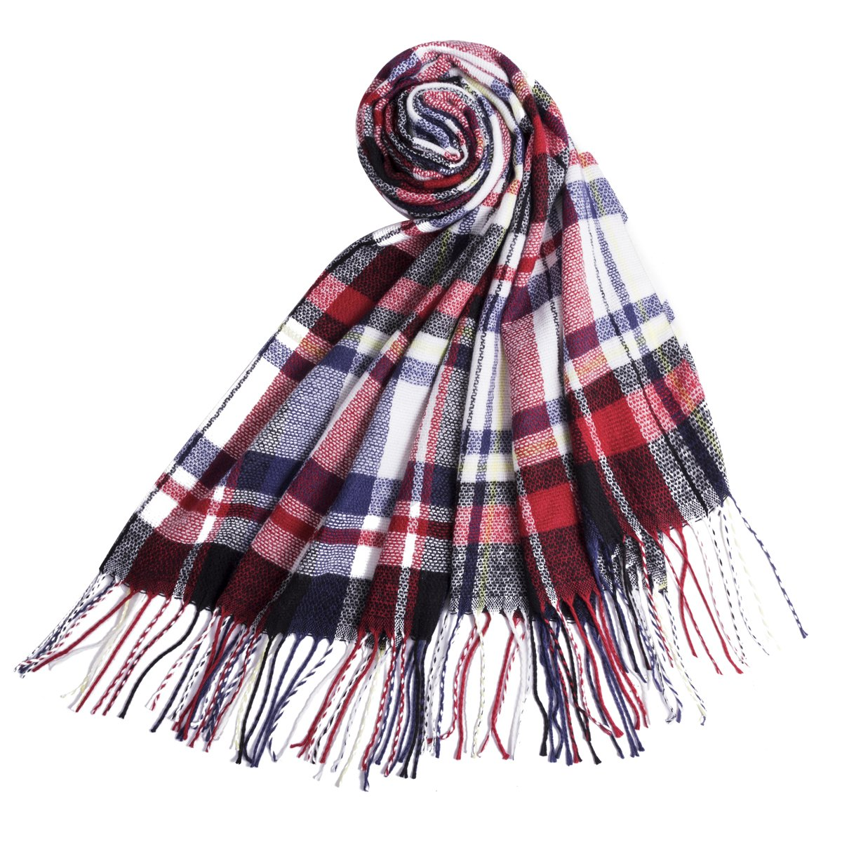 Plaid Blanket Scarf, Square Scarves Warm Tartan Checked Shawl Oversize Cape Fashion Scarves