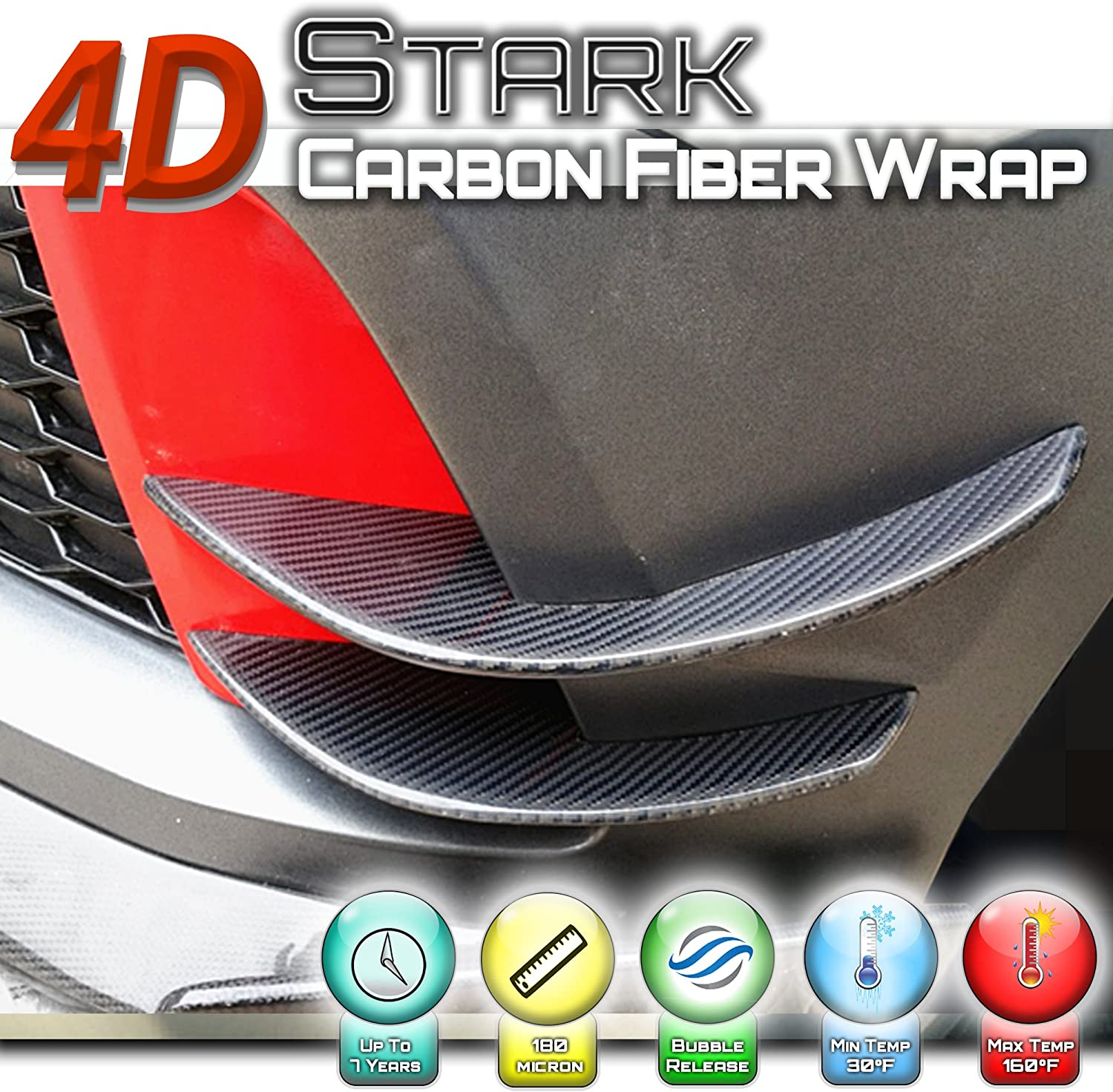 12 x 60 IN Inches 4D Black Carbon Fiber Vinyl Wrap Sticker Air Release Bubble Free Anti-Wrinkle 1 x 5 FT Feet
