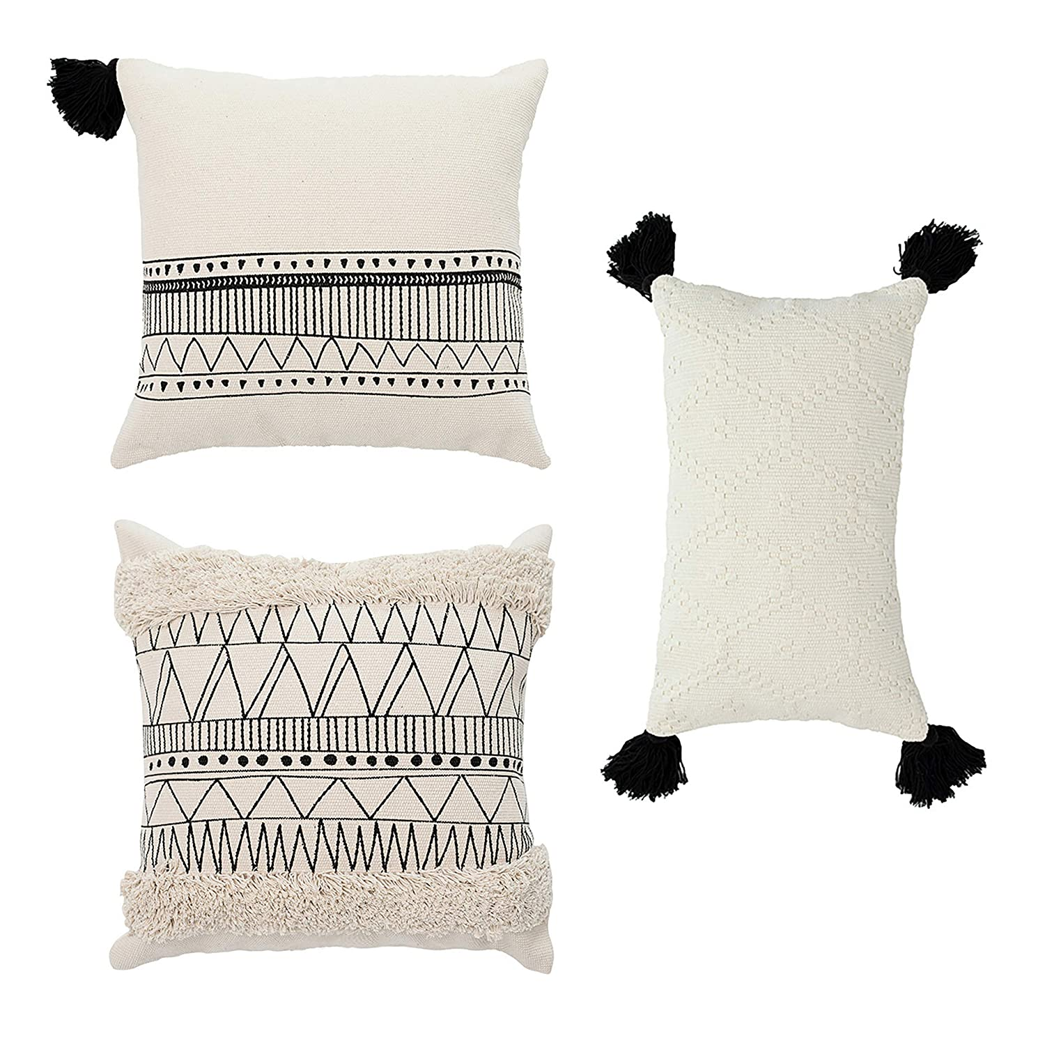 """Cozi Abode Geometric Decorative Throw Pillow Covers Set of 3 18 X 18"""" 12 X 20"""" for Bed/Sofa Woven Tassels Tufted Modern Design Black and Cream"""