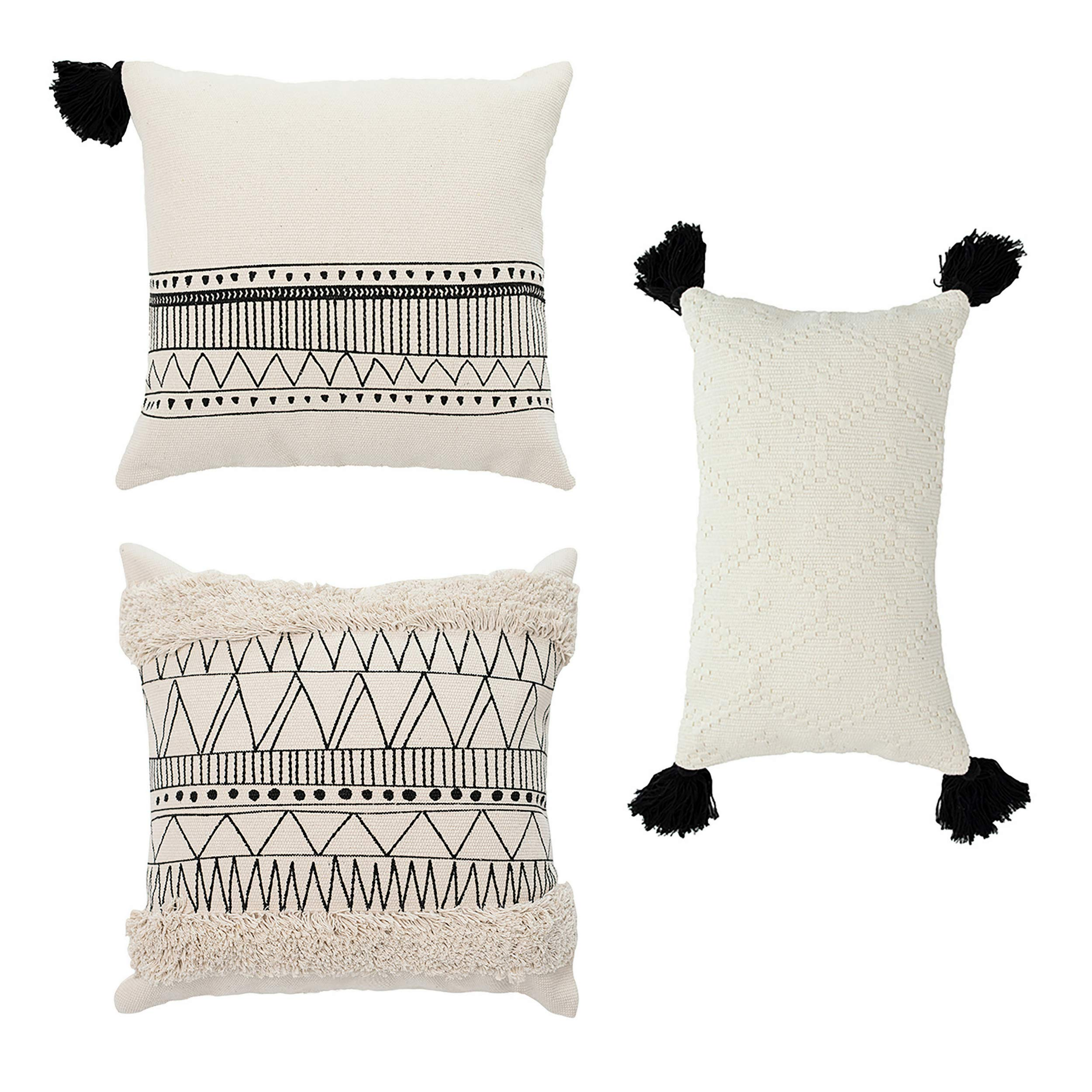 Cozi Abode Geometric Decorative Throw Pillow Covers Set of 3 18 X 18'' 12 X 20'' for Bed/Sofa Woven Tassels Tufted Modern Design Black and Cream