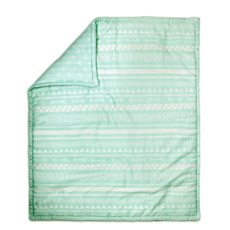 Mint Green Tribal Print Reversible 100% Cotton Crib Quilt by The Peanut Shell Farallon Brands QOTBMI