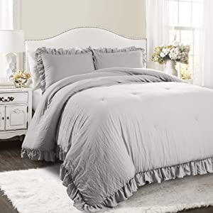 Lush Decor Reyna Comforter Light Gray Ruffled 3 Piece Set with Pillow Sham King Size Bedding