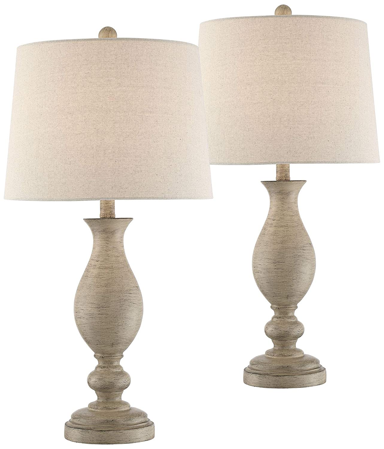 Serena country cottage table lamps set of 2 cream wood oatmeal drum shade for living room family bedroom bedside office regency hill amazon com