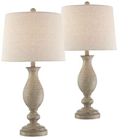 Phenomenal Serena Country Cottage Table Lamps Set Of 2 Cream Wood Oatmeal Drum Shade For Living Room Family Bedroom Bedside Office Regency Hill Interior Design Ideas Tzicisoteloinfo