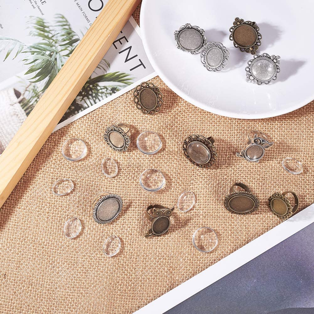 SUNNYCLUE 6pcs Antique Bronze Adjustable Blank Flower Cabochon Ring Settings with 6pcs Round Oval 20mm//13x18mm Gemstone Cabochons for DIY Ring Making