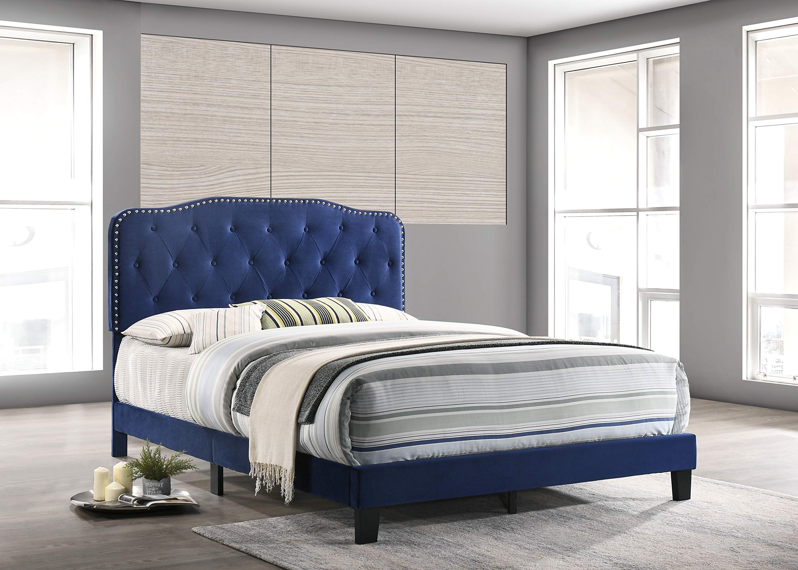 Furniture B103-FB Platform, Full, Navy Blue by Best Quality