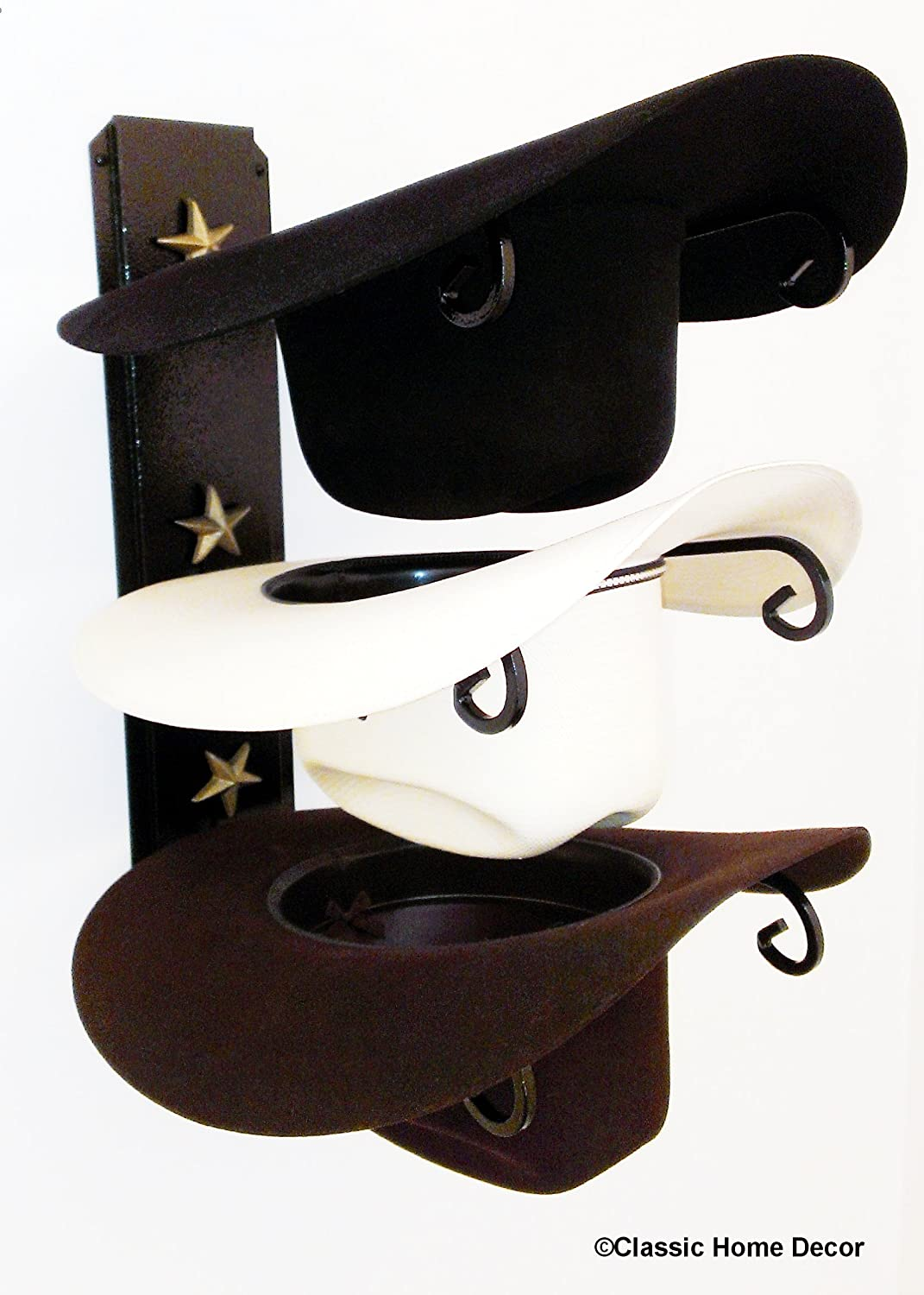 Mark Christopher Collection Cowboy Hat Holder Black with Gold Stars Classic Home Decor 663 STAR Black/Gold