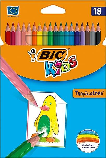 BIC Kids Tropicolors - Blíster de 18 unidades, lápices de colores surtidos: Amazon.es: Oficina y papelería
