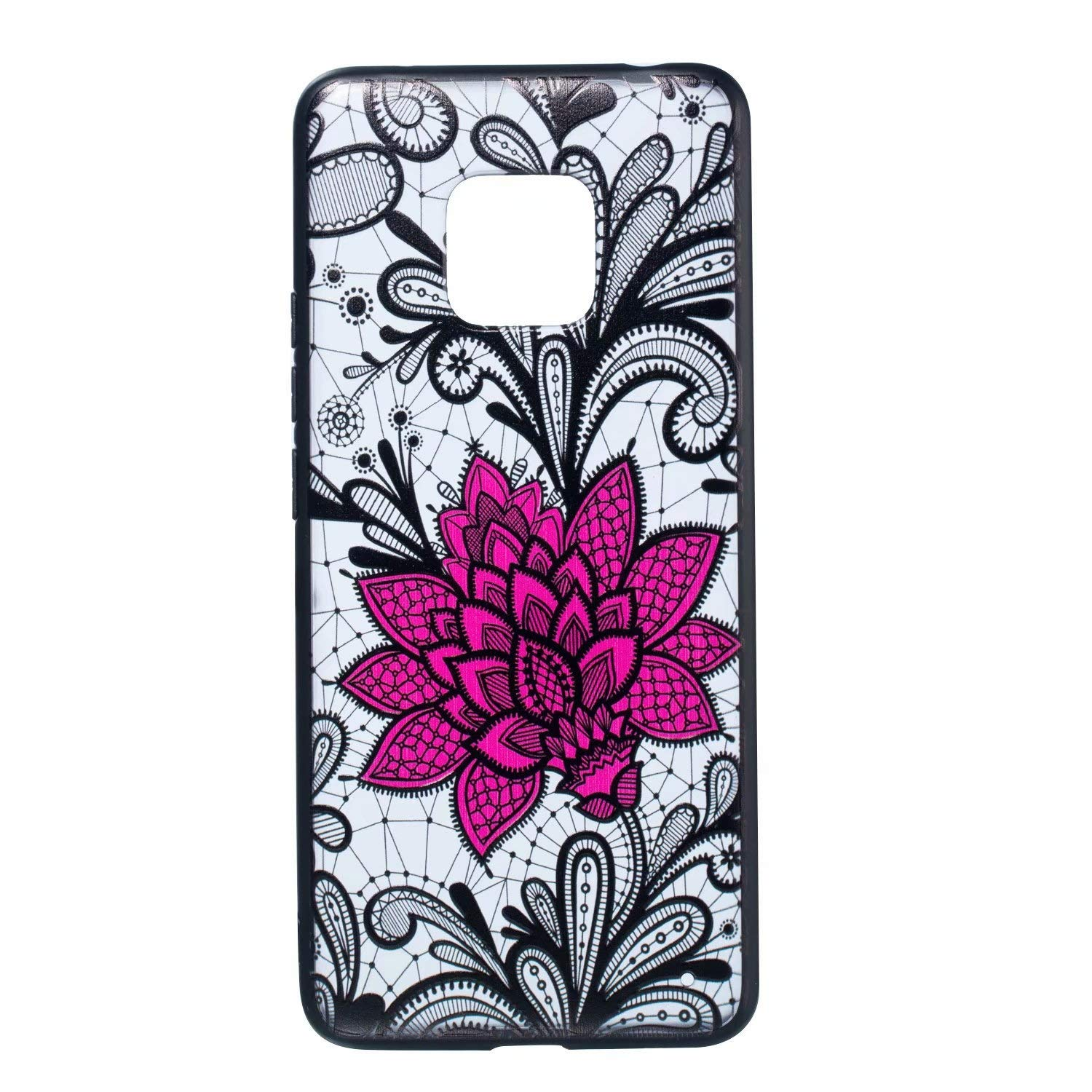 YHUISEN Huawei Mate 20 Pro case, Ultra Slim Relief Lace Flower Hybrid Soft TPU and Matte PC Back Case Cover for Huawei Mate 20 Pro (Pattern : 2)