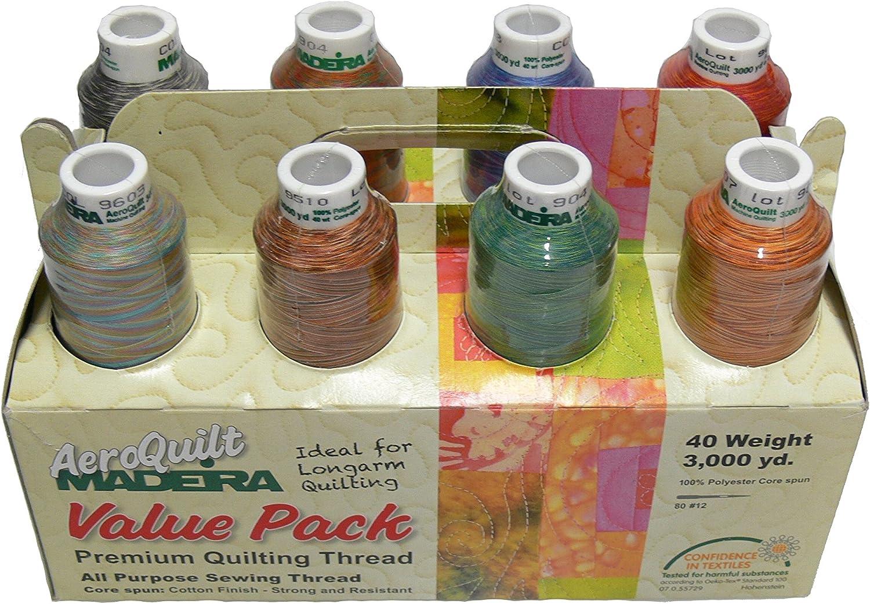 Madeira 8 Large Spool AeroQuilt Variegated Premium Quilting Thread Value Pack