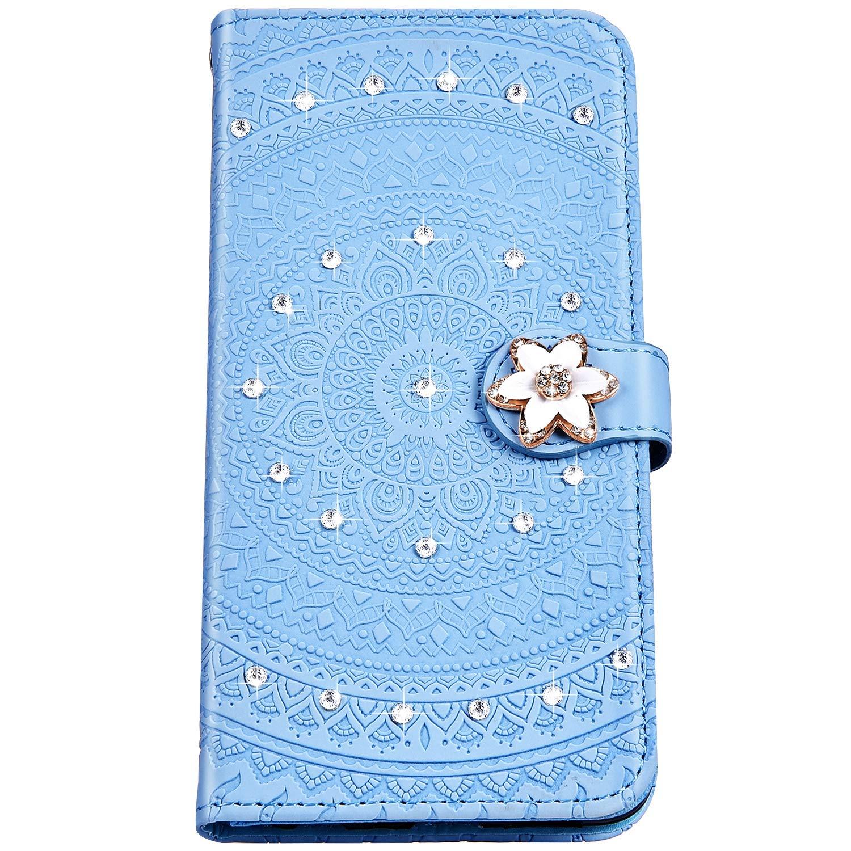Felfy Compatibile con HuaWei P Smart Cover Blu PU Pelle Magnetica Flip Caso,Compatibile con HuaWei Enjoy 7S Cover Diamante Mandala Fiore Modello Pattern Wallet Case Antiurto con Stand Slot Schede
