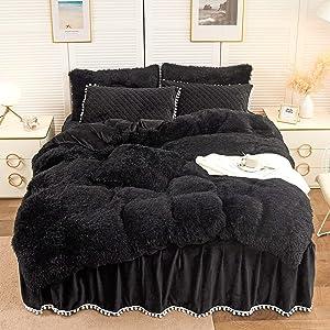 LIFEREVO Luxury Plush Shaggy Duvet Cover Set (1 Faux Fur Duvet Cover + 1 Pompoms Fringe Pillow Shams) Solid, Zipper Closure (Twin, Black)