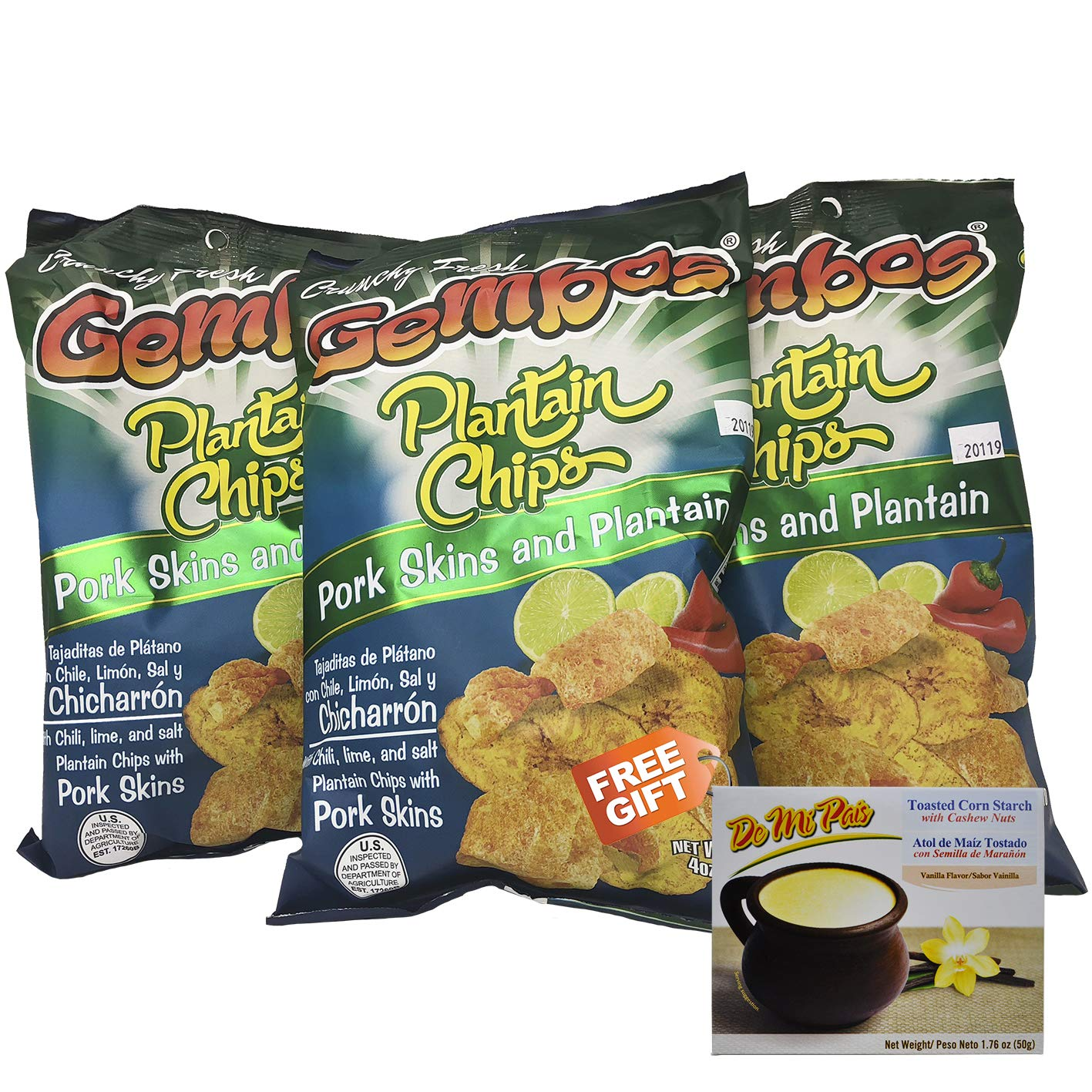 GEMBOS Plantain Chips Porks Skins/Chicharron 6-PACK - 1 FREE GIFT
