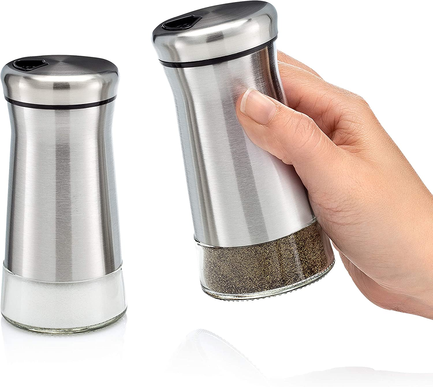 Premium Salt and Pepper Shakers with Adjustable Pour Holes - Elegant Stainless Steel Salt and Pepper Dispenser - Perfect for Himalayan, Kosher and Sea Salts - Spices W/Collapsible Funnel/Ebook