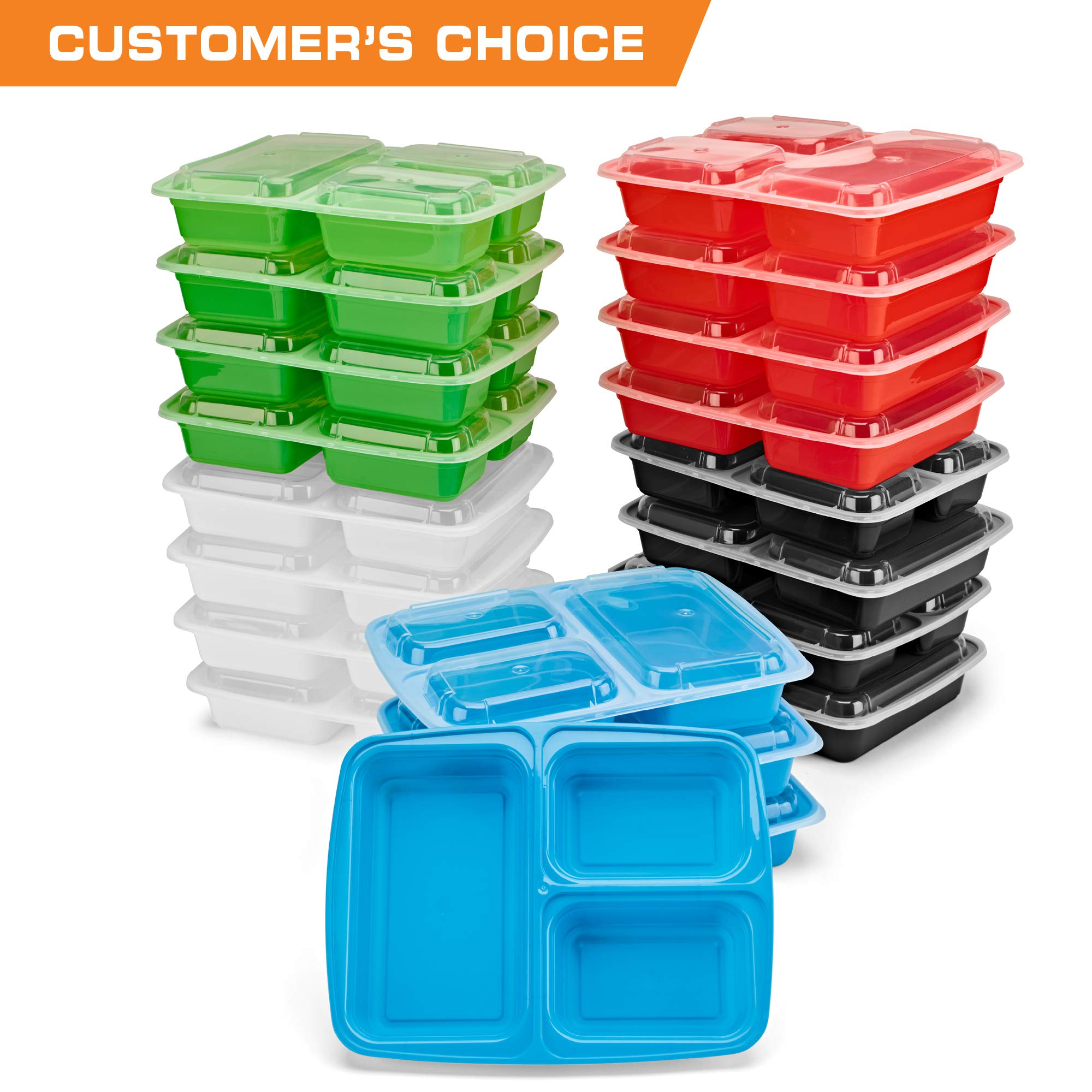 SimplyLife Home 20 Pack 3 Compartment Meal Prep Containers