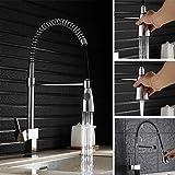 [Auralum] Wasserhahn Küchenarmatur Spiralfederarmatur Einhebel Spültischarmatur Mischbatterie umstellbar Auslaufstrahl