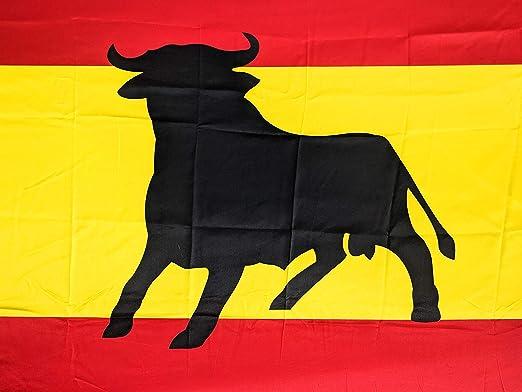 JOVAL -Bandera Grande de España con Toro Español de 150 x 90cm - Satén. Suave con Colores Negro Rojo y Amarillo Muy Vivos. para Bandera o para Colgar en balcón.: Amazon.es: Jardín