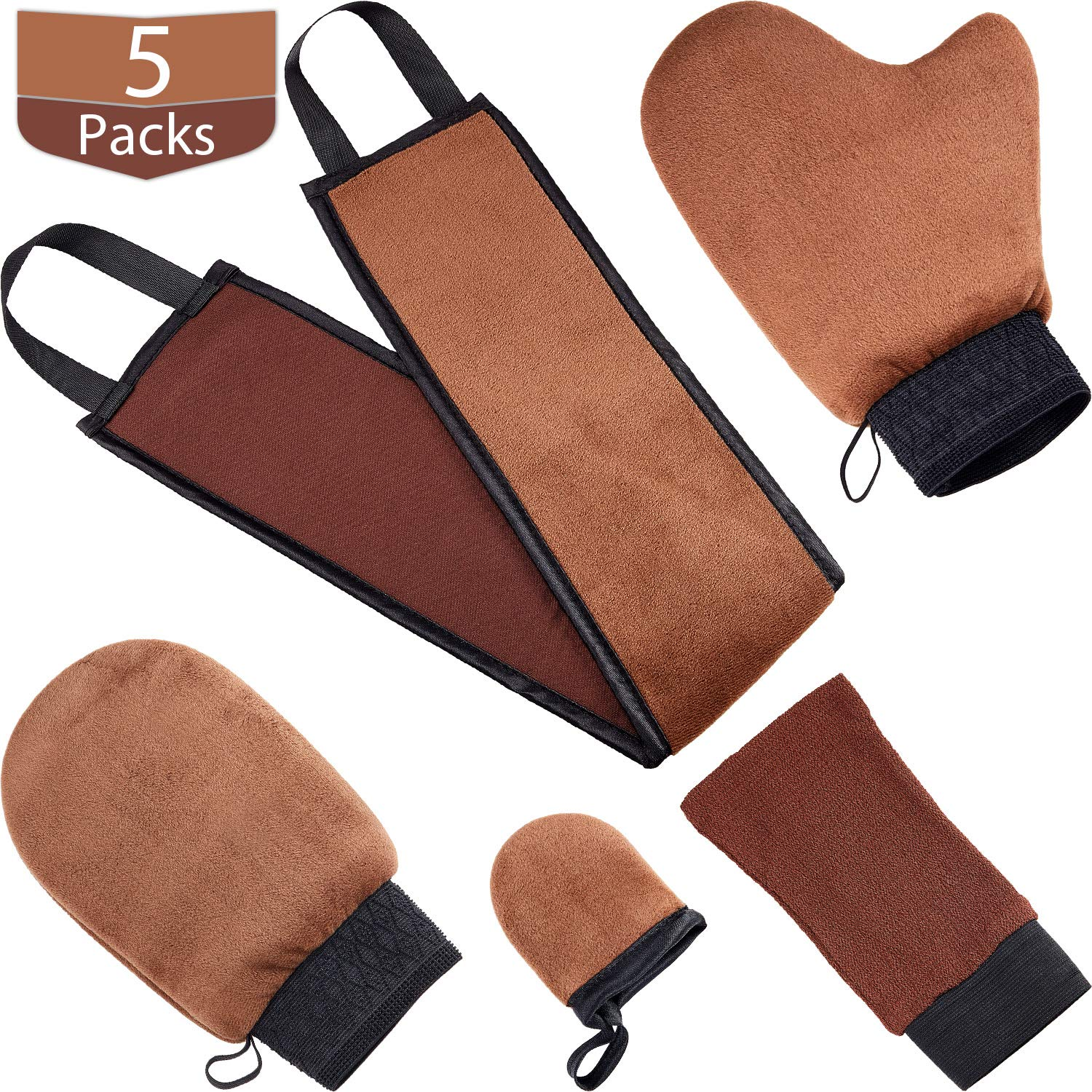 Amazon Com Tanning Mitt Applicator Tan Mitt Applicator Kit 5 In 1 With Exfoliating Glove Tanning Back Lotion Applicators For Back Face Mitt And 2 Kinds Of Gloves Tanner Mitt Tools Brown Beauty