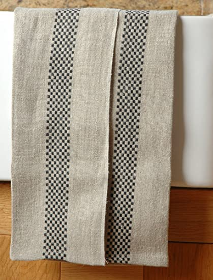 Pure French Linen Tea Towel With A Black Checked Striped Detail Amazon Co Uk Kitchen Home