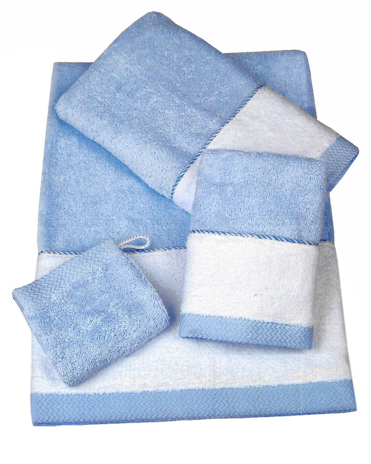 Armani International Théoule European Luxury Egyptian Combed Cotton 1 Guest-Towel, 1 Hand Towel, 1 Bath Towel, 1 Bath Wash Mitt in Aria Blue