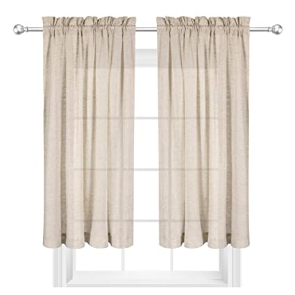 VOILYBIRD Reale 2 Pack Short Sheer Curtains For Kitchen Window 45 Inch  Length Linen Textured Panels