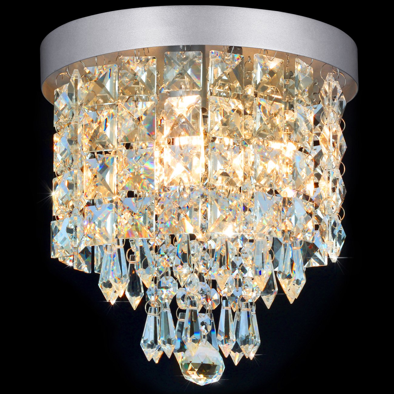 SHINE HAI Crystal Chandelier, 3-light Modern Flush Mount Ceiling Pendant Light H9.45'' X W8.66'' for Bedroom, Living Room, Dining Room, Kitchen, Hallway