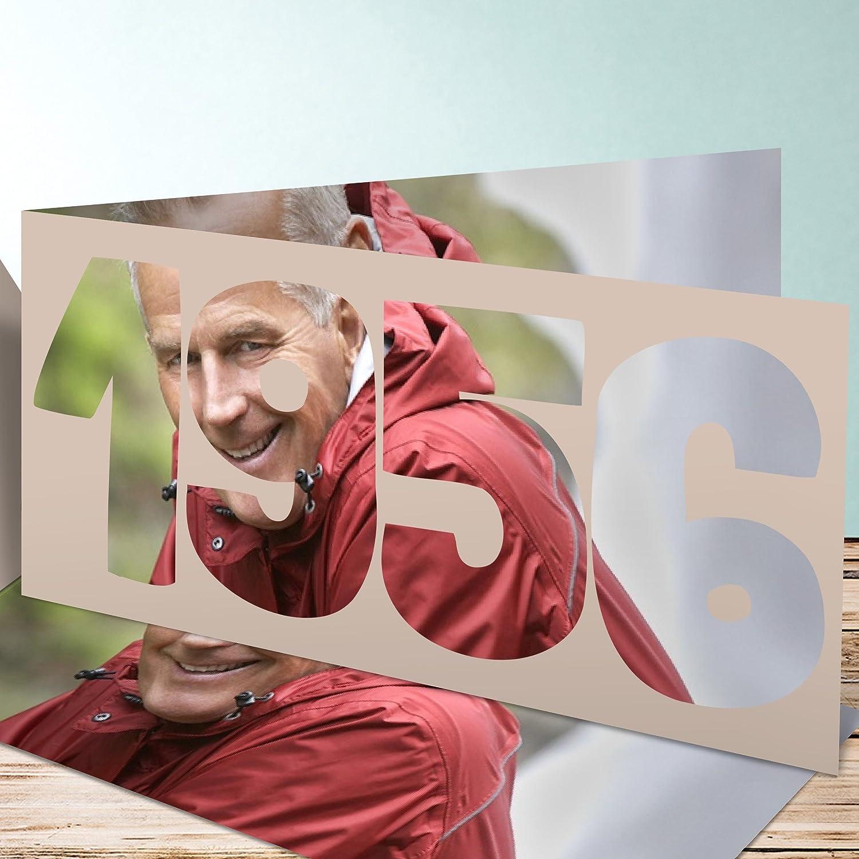 Einladungen 60 Geburtstag, Jahrgang 1956 5 Karten, Horizontale Klappkarte  210x100 Inkl. Weiße Umschläge, Braun: Amazon.de: Küche U0026 Haushalt