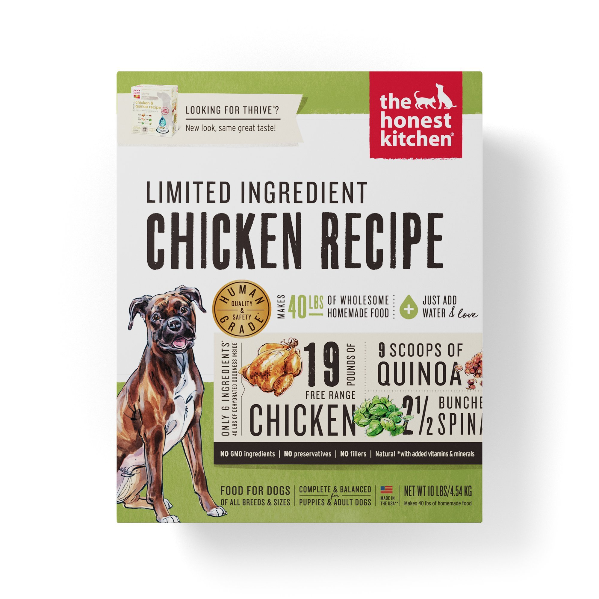Honest Kitchen The Limited Ingredient Chicken Dog Food Recipe, 10 lb box - Thrive