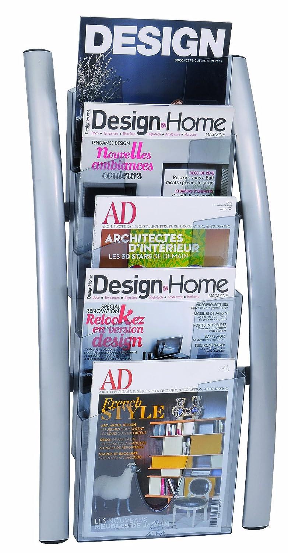 Alba - Expositor de revistas para montaje en pared (acrílico, 5 compartimentos), color plateado: Amazon.es: Oficina y papelería
