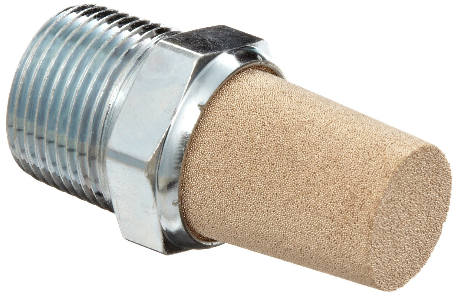 Parker EM37 EM Series Sintered Bronze Muffler/Filter, 3/8'' NPT Male, 11/16'' Hex Size, 250 psi
