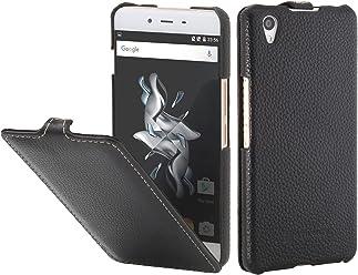 StilGut UltraSlim, Housse en Cuir avec Fonction Smart Cover pour OnePlus X, en Noir