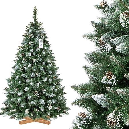 Albero Di Natale Finto.Fairytrees Pino Naturale Con Punte Innevate Albero Di Natale Artificiale Pvc Pigne Naturali Supporto In Legno 180cm Amazon It Casa E Cucina