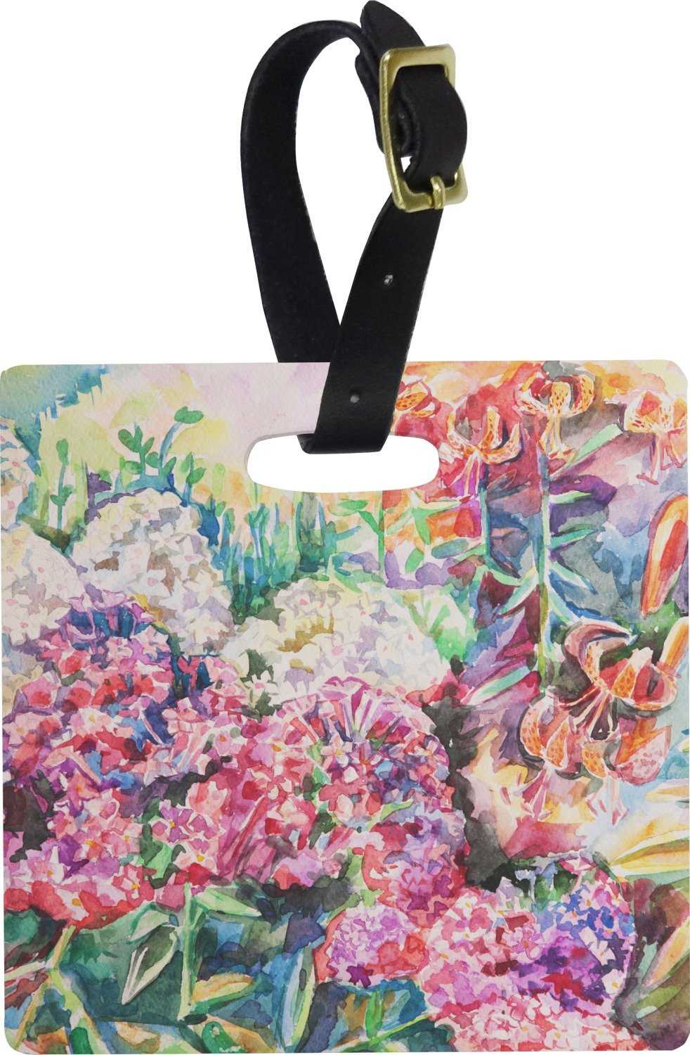 Watercolor Floral Square Luggage Tag