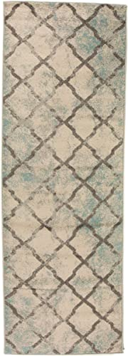 Super Area Rugs Updated Vintage Trellis Area Rug, 2 7 X 7 6 Ivory and Gray Carpet