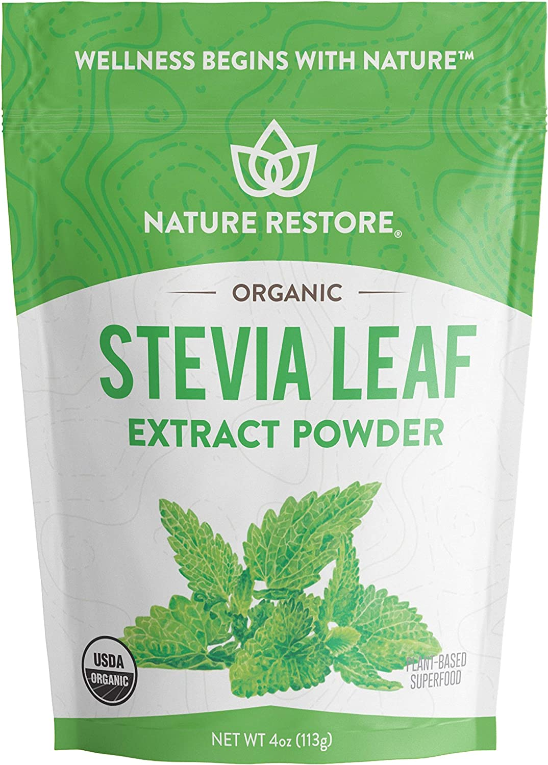 Nature Restore USDA Certified Organic Stevia Leaf Extract Powder, 4 ounces, Non GMO, Gluten Free, 100% Natural Stevia Sweetener
