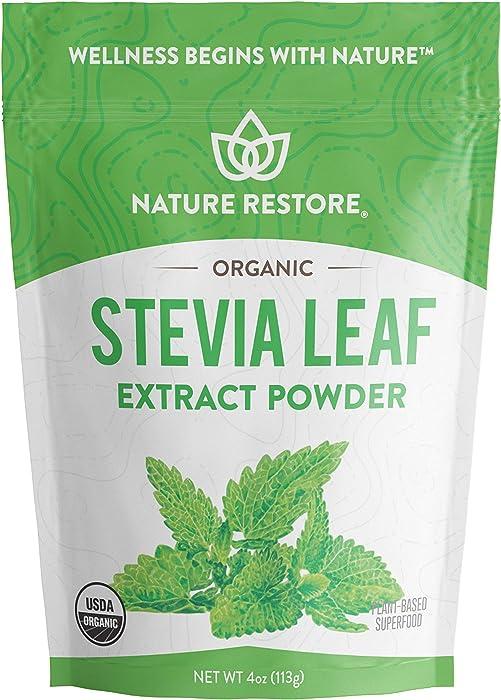 Nature Restore USDA Certified Organic Stevia Leaf Extract Powder, 4 ounces, Non GMO, Gluten Free, 100% Natural Stevia Sweetener