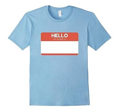 amazon com hello my name is sticker t shirt name tag work badge tee