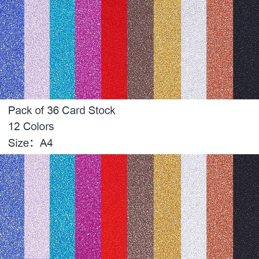 Crafts Projects 29cm x 21cm Kartenherstellung BENECREAT 36 Blatt A4 Gr/ö/ße Glitter Cardstock Papier Funkelnde Karte mit 12 lebendigen Farben fur DIY Handcrafts