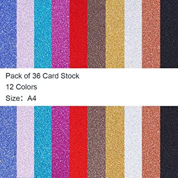 36 Sheets A4 Size Glitter Cardstock Paper Sparkling Card with 12 Vivid Colors for DIY Handcrafts