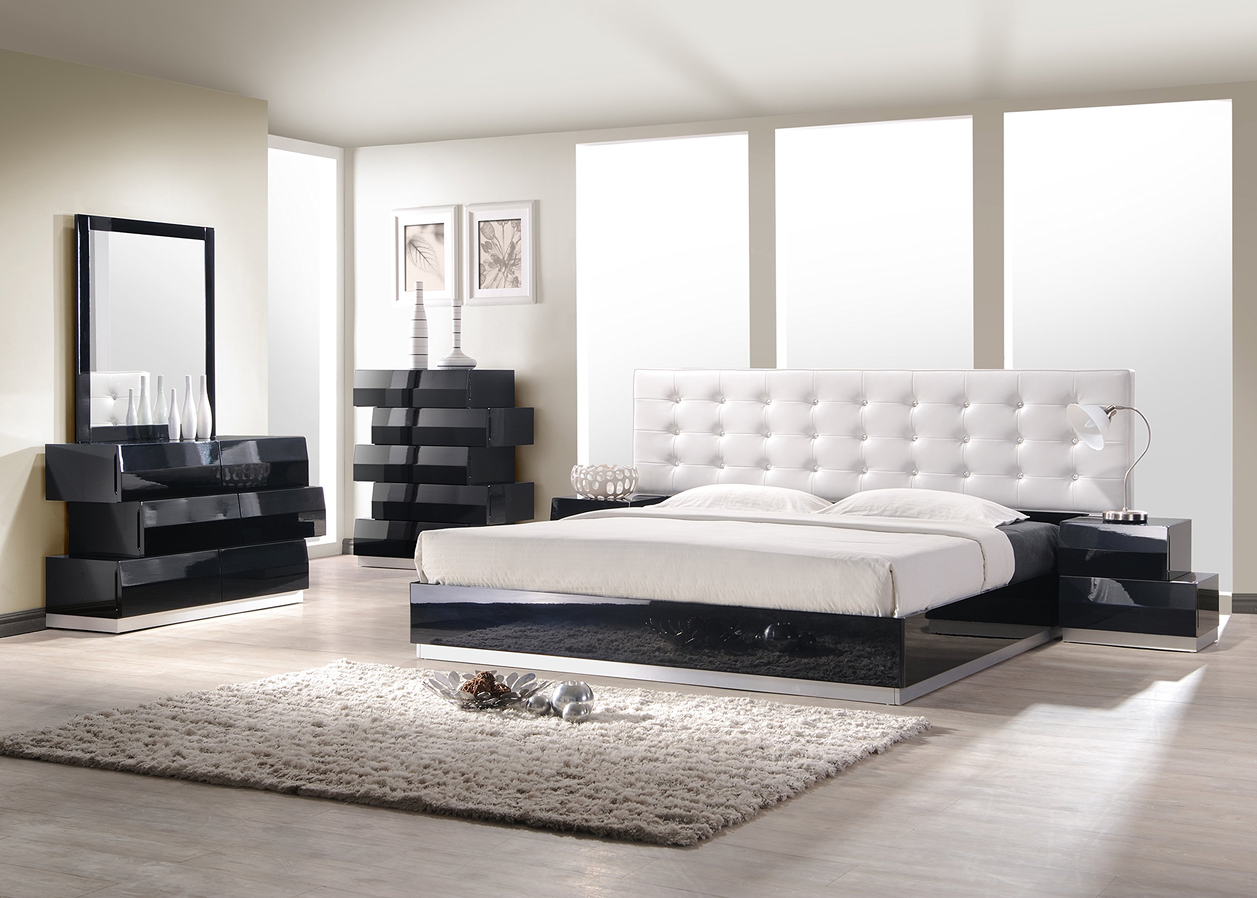 J and M Furniture Milan Black K Set with Chest Bedroom Furniture by J&M Furniture
