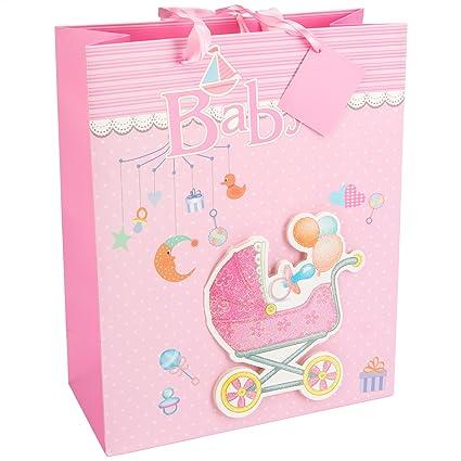 LEVIVO Baby Design 1, Pink Bolsa de Regalo 3D para bebé, diseño 1, Rosa, Paper, 26x12x32 cm