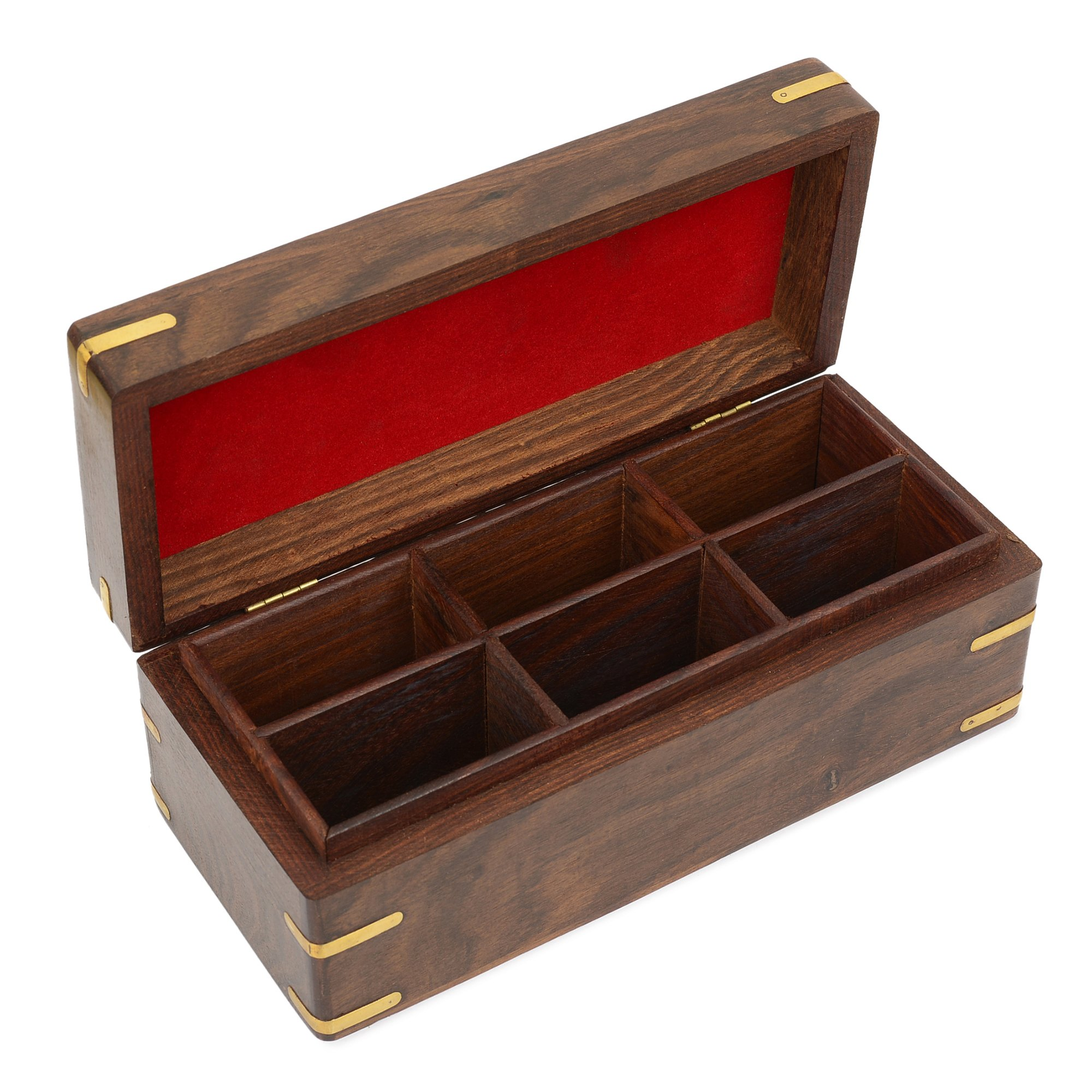 Rusticity Indian Traditional Handmade Wooden Tea, Herbs, Condiment & Spice Storage Box/Handcrafted Sheesham Keepsake Chest Organizer w/Lid & 6 compartment pockets for Kitchen & Dining, 10 x 4.5 in.