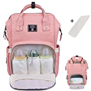 Baby Diaper Bag Backpack Multi-Function Waterproof Travel Nappy Tote Bags Large Capacity Creative Fashion Package For Both Mon&Dad //Orange-Pink