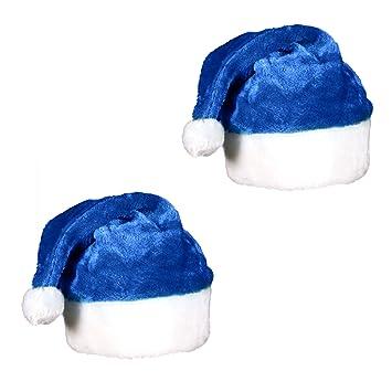 9544e82b593f0 Amazon.com  (2 Pack) Blue Plush Holiday Christmas Santa Hats  Health ...