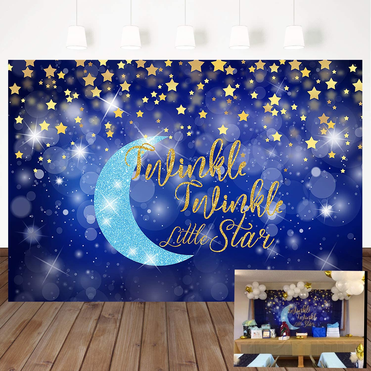 Mehofoto Twinkle Twinkle Little Star Backdrop Moon Glitter Star Children Party Background 7×5ft Vinyl Gold Stars Baby Shower Party Decoration Photography Background Banner Props