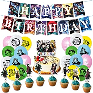 Demon Slayer Birthday Party Supplies 46PCS Kimetsu no Yaiba Anime Theme Decorations for Boys Dorm 20pcs Balloons, 1pc Happy Birthday Banner, 24pcs Cupcake Toppers, 1pc Huge Manga Cake Toppers Tanjirou Accessories