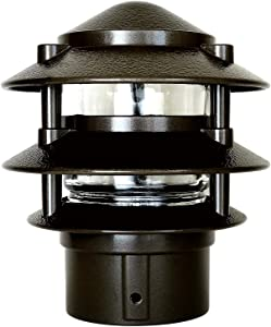 Greenfield PL3TPBLEDBR Bronze Made in The USA LED Weatherproof 3-Tier Pathlight with Post Base