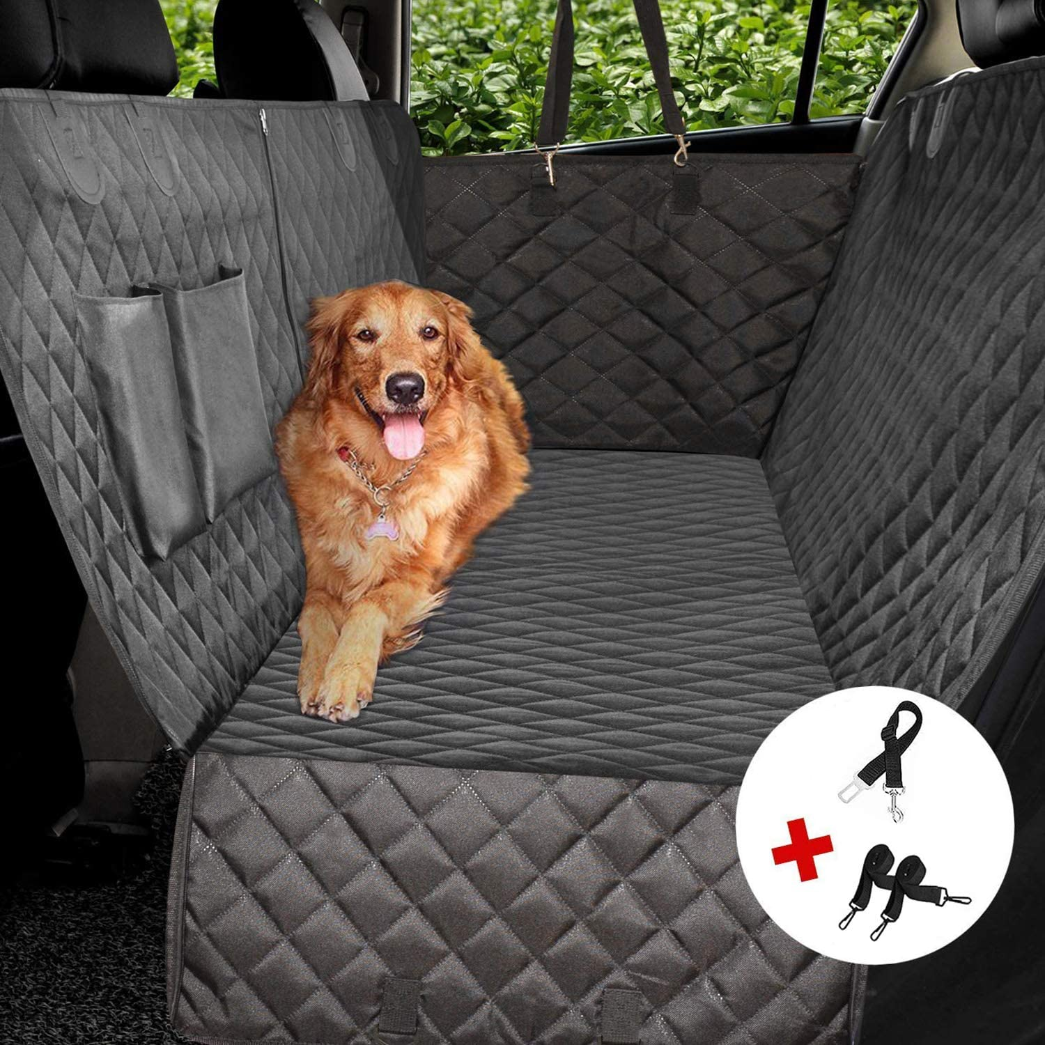 YIHATA Dog Car Seat Cover Seats Covers 100 Waterproof with Side Flaps for Pets, Scratch Proof, Nonslip Backing Hammock, Dog Seat Belts Storage Pocket, Durable Pet Seat Covers for Cars Trucks SUV.