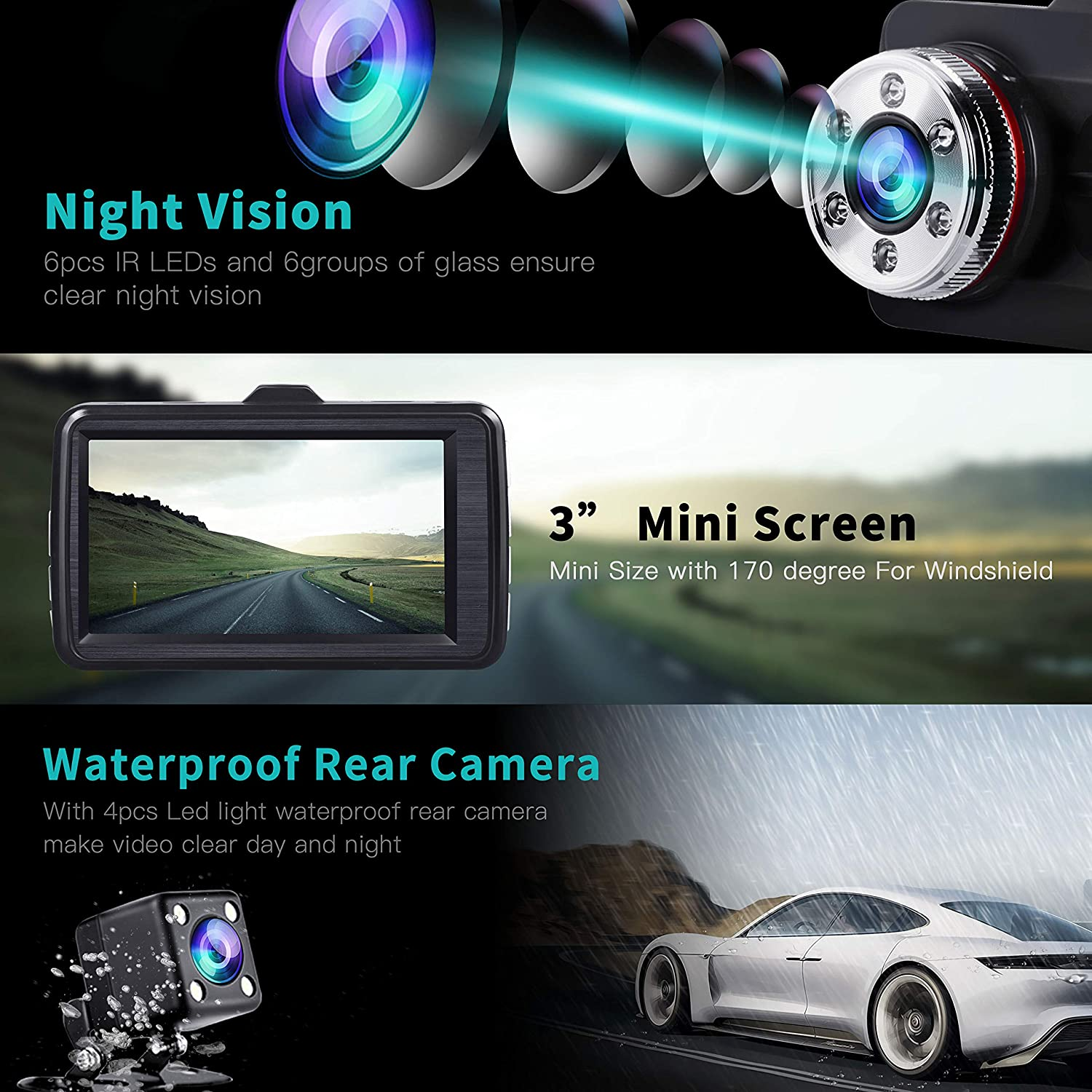 "24 Hours Parking Monitor TOGUARD Dual Dash Cam Front and Rear Night Vision 1080P Car Camera and 720P Rear View Backup Camera 170/° Wide Angle 3.0/"" LCD"